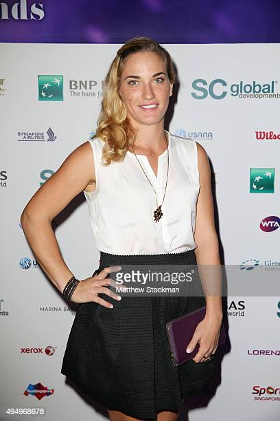 Timea Babos attends Singapore Tennis Evening during BNP Paribas WTA Finals at Marina Bay Sands on October 30 2015 in Singapore