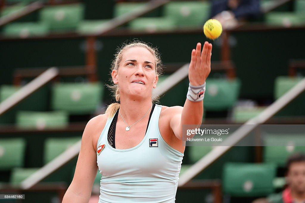 Timea Babos during the Women's Singles second round on day five of the French Open 2016 at Roland Garros on May 26, 2016 in Paris, France.