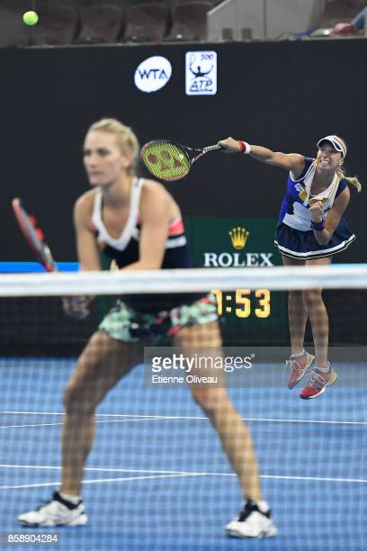 Timea Babos of Hungary and Andrea Hlavackova of Czech Republic in action during their Women's doubles final match against YungJan Chan of Chinese...