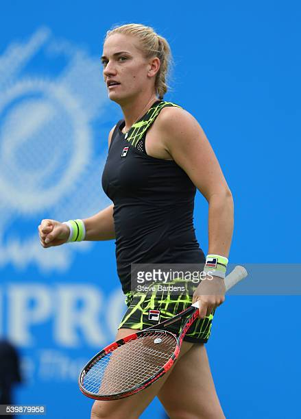 Timea Babos of Hungary celebrates a point during her women's singles first round match against Madison Keys of United States on day one of the WTA...