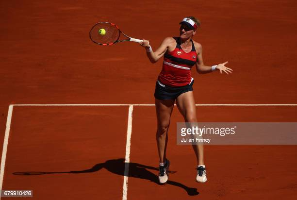 Timea Babos of Hungary in action in her match against Angelique Kerber of Germany during day two of the Mutua Madrid Open tennis at La Caja Magica on...