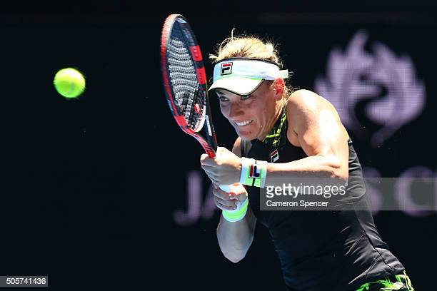 Timea Babos of Hungary plays a backhand in her second round match against Belinda Bencic of Switzerland during day three of the 2016 Australian Open...