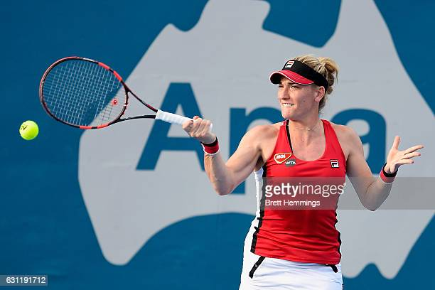Timea Babos of Hungary plays a forehand shot in her first round match against Daria Kasatkina of Russia during the 2017 Sydney International at...