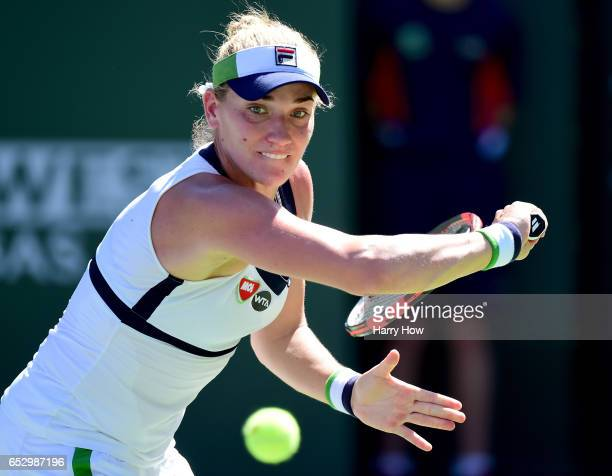 Timea Babos of Hungary prepares a backhand in her loss to Elena Vesnina of Russia during the BNP Paribas Open at Indian Wells Tennis Garden on March...