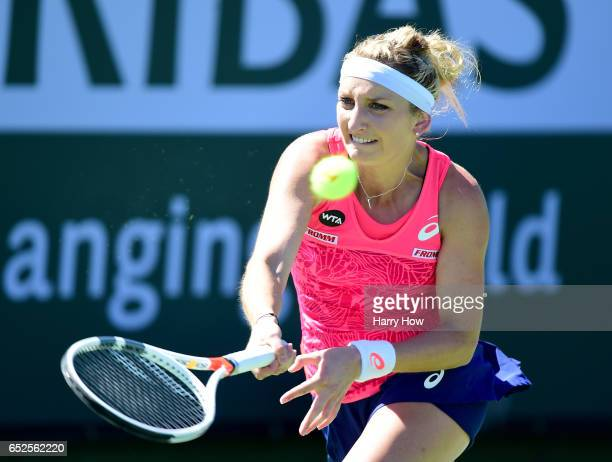 Timea Bacsinsky of Switzerland returns a forehand in her match against Kiki Bertens of the Netherlands during the BNP Paribas Open at Indian Wells...
