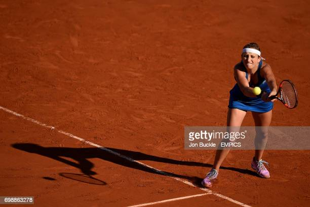 Timea Bacsinszky during her match against Serena Williams in the Women's Singles Semifinals on day twelve of the French Open at Roland Garros on June...