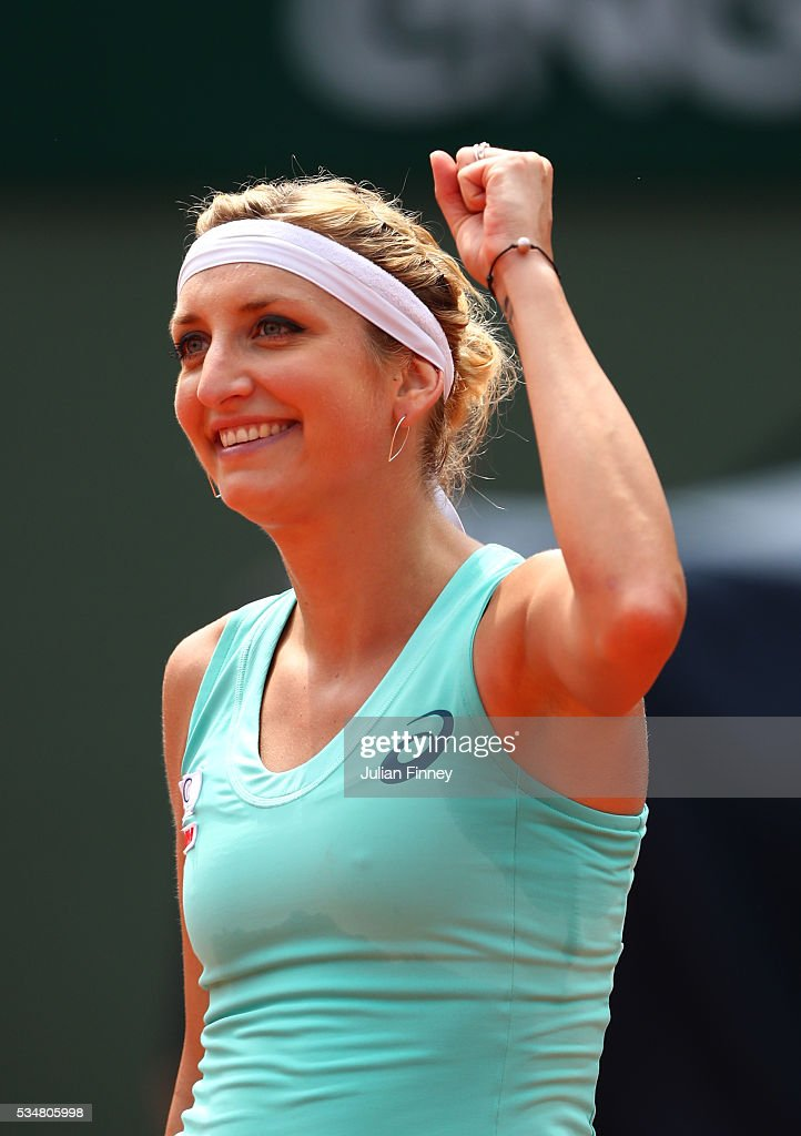 <a gi-track='captionPersonalityLinkClicked' href=/galleries/search?phrase=Timea+Bacsinszky&family=editorial&specificpeople=675184 ng-click='$event.stopPropagation()'>Timea Bacsinszky</a> of Switzerland celebrates during the Ladies Singles third round match against Pauline Parmentier of France on day seven of the 2016 French Open at Roland Garros on May 28, 2016 in Paris, France.