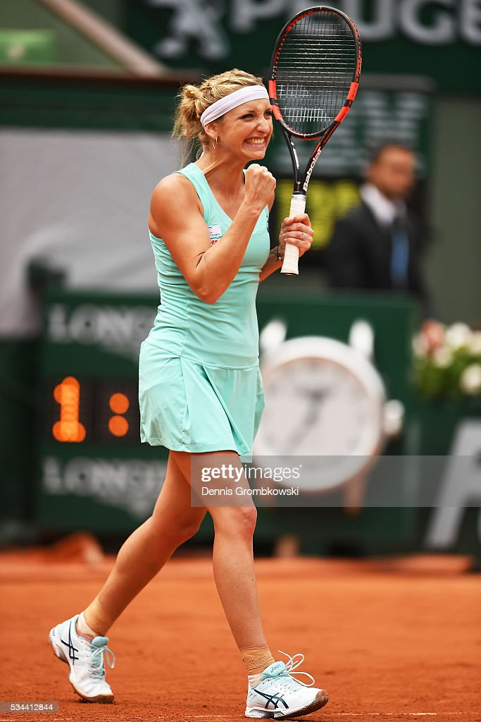 <a gi-track='captionPersonalityLinkClicked' href=/galleries/search?phrase=Timea+Bacsinszky&family=editorial&specificpeople=675184 ng-click='$event.stopPropagation()'>Timea Bacsinszky</a> of Switzerland celebrates her victory during the Ladies Singles second round match against Eugenie Bouchard of Canada on day five of the 2016 French Open at Roland Garros on May 26, 2016 in Paris, France.