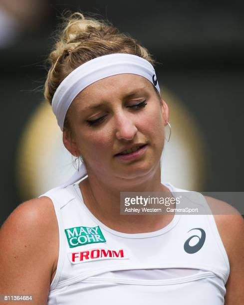 Timea Bacsinszky of Switzerland in action during her defeat by Agnieszka Radwanska of Poland in their Ladies' Singles Third Round Match at Wimbledon...