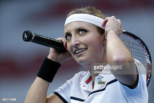 Timea Bacsinszky of Switzerland looks on during her match against Ana Ivanovic of Serbia during the Women's singles semifinals match on day 8 of the...
