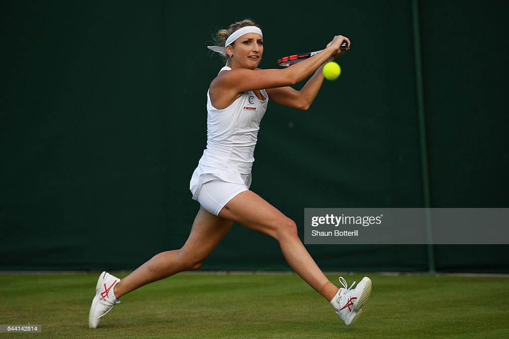 Timea Bacsinszky of Switzerland plays a backhand during the Ladies Singles second round match against Monica Niculescu of Romania on day five of the Wimbledon Lawn Tennis Championships at the All England Lawn Tennis and Croquet Club on July 1, 2016 in London, England.