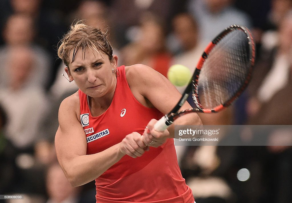 <a gi-track='captionPersonalityLinkClicked' href=/galleries/search?phrase=Timea+Bacsinszky&family=editorial&specificpeople=675184 ng-click='$event.stopPropagation()'>Timea Bacsinszky</a> of Switzerland plays a backhand in her match against Annika Beck of Germany on Day 2 of the 2016 FedCup World Group Round 1 match between Germany and Switzerland at Messe Leipzig on February 7, 2016 in Leipzig, Germany.