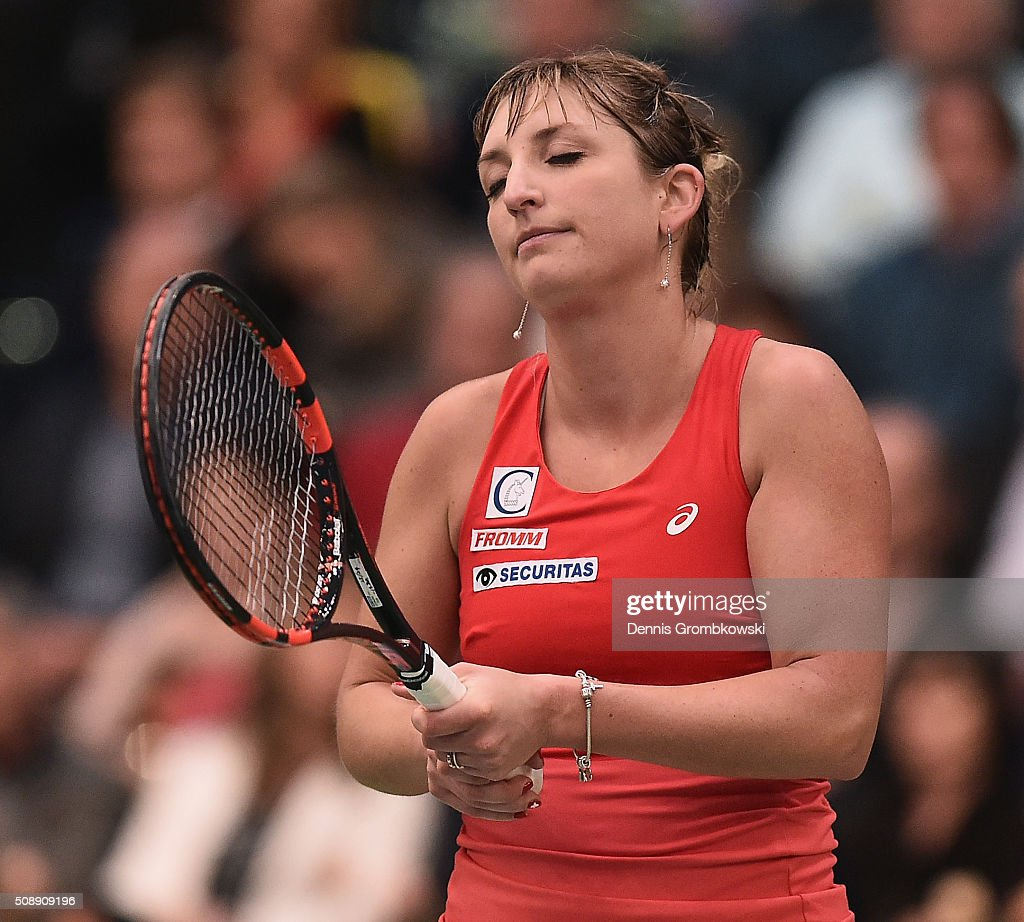<a gi-track='captionPersonalityLinkClicked' href=/galleries/search?phrase=Timea+Bacsinszky&family=editorial&specificpeople=675184 ng-click='$event.stopPropagation()'>Timea Bacsinszky</a> of Switzerland reacts during her match against Annika Beck of Germany on Day 2 of the 2016 FedCup World Group Round 1 match between Germany and Switzerland at Messe Leipzig on February 7, 2016 in Leipzig, Germany.