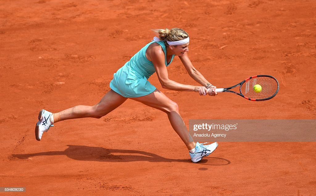 Timea Bacsinszky of Switzerland returns to Pauline Parmentier (not seen) of France during the women's single third round match at the French Open tennis tournament at Roland Garros Stadium in Paris, France on May 28, 2016.