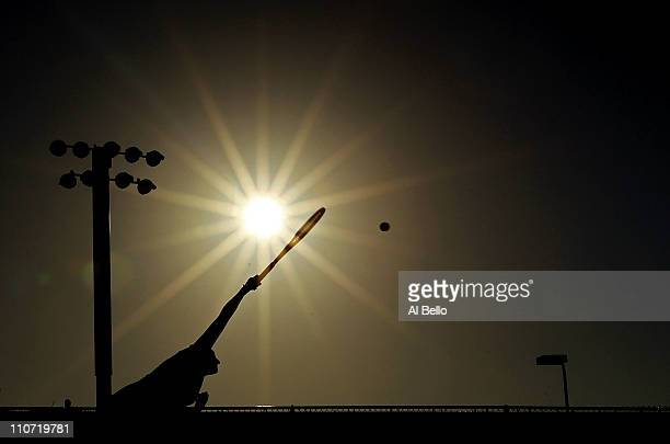 Timea Bacsinszky of Switzerland serves against Vesna Manasieva of Russia during the Sony Ericsson Open at Crandon Park Tennis Center on March 23 2011...