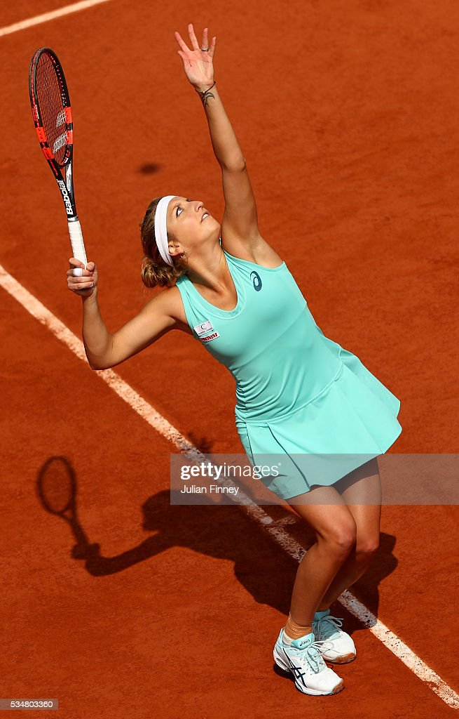 <a gi-track='captionPersonalityLinkClicked' href=/galleries/search?phrase=Timea+Bacsinszky&family=editorial&specificpeople=675184 ng-click='$event.stopPropagation()'>Timea Bacsinszky</a> of Switzerland serves during the Ladies Singles third round match against Pauline Parmentier of France on day seven of the 2016 French Open at Roland Garros on May 28, 2016 in Paris, France.