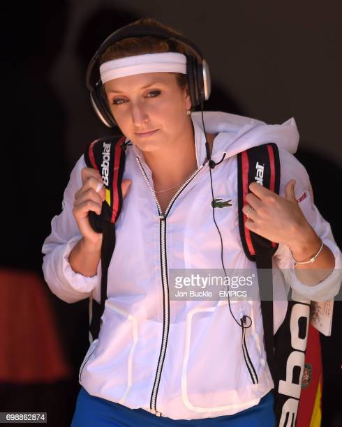 Timea Bacsinszky walks out for her match against Serena Williams in the Women's Singles Semifinals on day twelve of the French Open at Roland Garros...