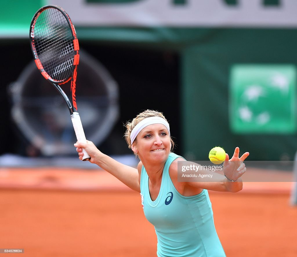 Timea Basinszky of Switzerland returns the ball to Eugenie Bouchard (not seen) of Canada during their women's single second round match at the French Open tennis tournament at Roland Garros in Paris, France on May 26, 2016.