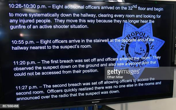 A timeline of events from Sunday's mass shooting at the Route 91 Harvest country music festival is displayed on a television by police during a news...