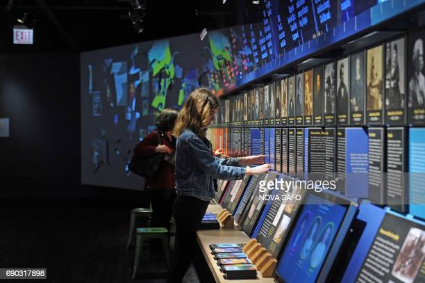 A timeline representing 500 years of American literary history greets visitors at the American Writers Museum in Chicago May 25 2017 A firstofitskind...