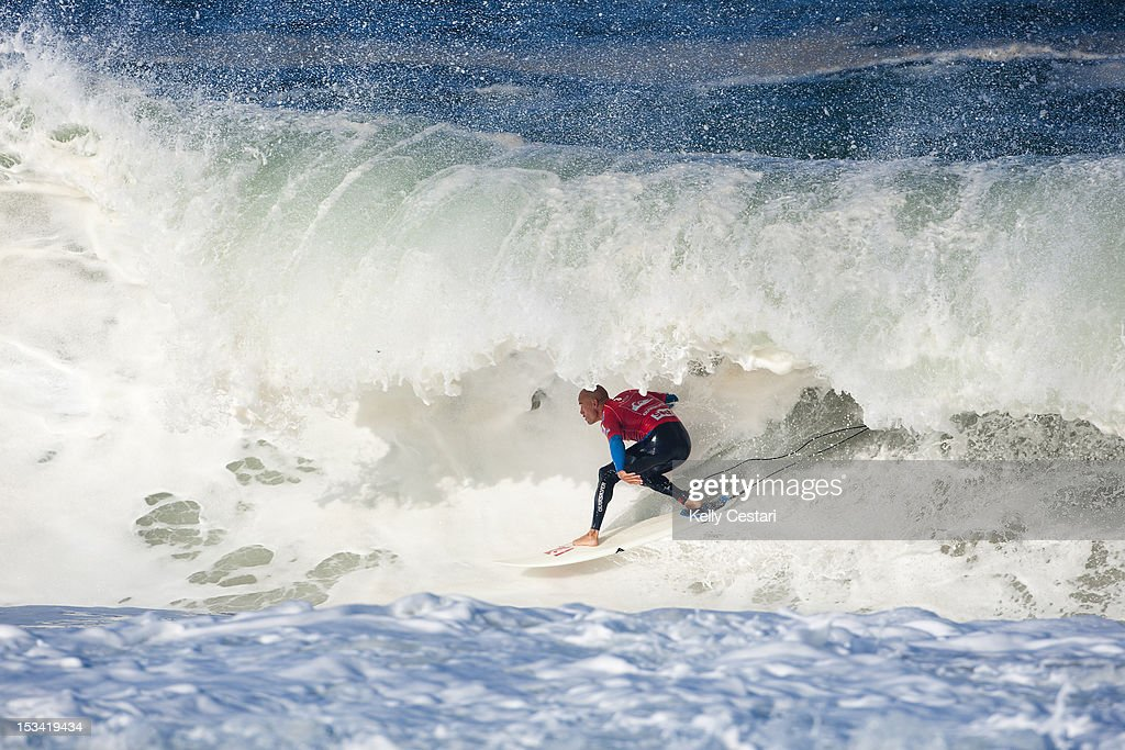 11 times ASP World Champion <a gi-track='captionPersonalityLinkClicked' href=/galleries/search?phrase=Kelly+Slater&family=editorial&specificpeople=207101 ng-click='$event.stopPropagation()'>Kelly Slater</a> of the United States posted a near perfect score of 19.93 (out of a possible 20.00) in the Quarter Finals of the Quiksilver Pro France on October 4, 2012 in Hossegor, France.