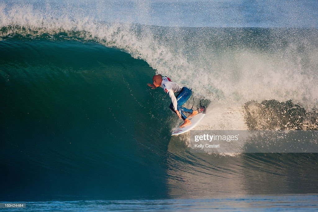 11 times ASP World Champion <a gi-track='captionPersonalityLinkClicked' href=/galleries/search?phrase=Kelly+Slater&family=editorial&specificpeople=207101 ng-click='$event.stopPropagation()'>Kelly Slater</a> of the United States won the Quiksilver Pro France final at La Graviere on October 5, 2012 in Hossegor, France.