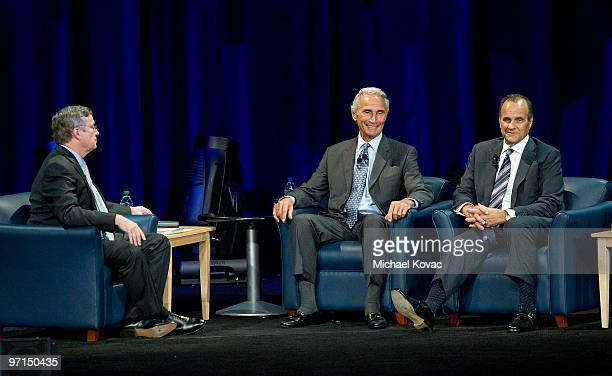 LA Times columnist TJ Simers moderates a discussion between baseball pitching legend Sandy Koufax and LA Dodgers Manager Joe Torre to help raise...