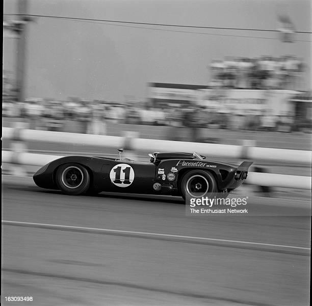 Times Grand Prix Riverside Bob Bondurant of the Pacesetter Homes team drives the Chevrolet powered Lola T70