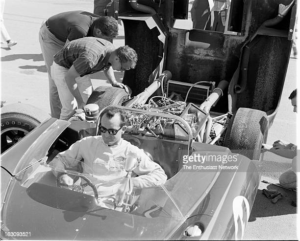Times Grand Prix Riverside Bob Bondurant of the Pacesetter Homes team sits in the Chevrolet powered Lola T70 Mk1