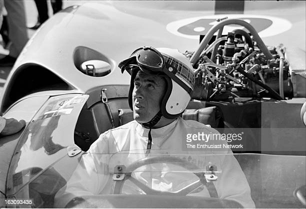 Times Grand Prix Riverside Jackie Stewart of Team Surtees sits in his Chevrolet powered Lola T70
