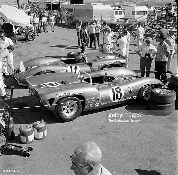 Times Grand Prix Riverside The John Mecom owned Zerex Special of Parnelli Jones and Walt Hansgen sit in the paddock Both of the Ford powered Lola T70...
