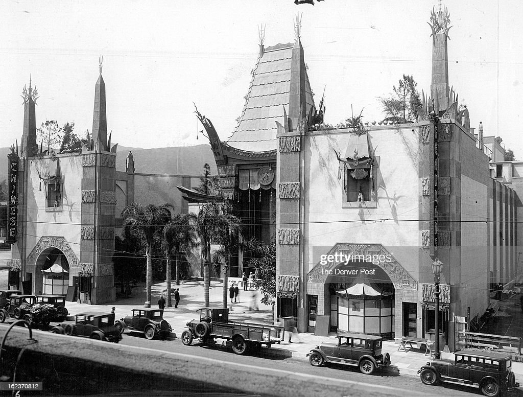 JUL 12 1927, MAR 8 1981, MAR 20 1982; Times have changed since 1923 when this photo was taken of Sid Grauman's new Chinese Theater on Hollywood Boulevard. The historic movie palace now has been chopped up into three theaters.; Denver-é+¦s -é+¦Best Girl-é+¦ Will Visit Here; This shows the exterior of Sid Grauman-é+¦s new Chinese theater in Los Angeles, one of the many theaters that will be visited by Denver-é+¦s -é+¦best girl-é+¦ as selected in The Denver Post-é+¦s current contest. It is one of the most elaborately beautiful playhouses in the world. From an artistic standpoint, the Chinese is said to have no equal.; Credit: International Newsreel.