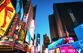 Billboards and screen images adorn the buildings around Times Square in Manhattan, New York City.