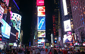 Times Square with its famous billboards and ads at Broadway in Manhattan, New York at night