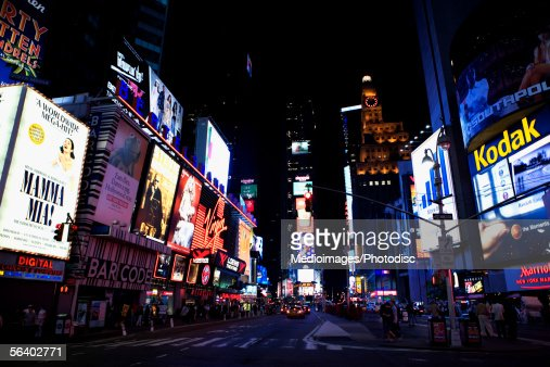 Times Square at night, New York City, NY, USA : Foto de stock