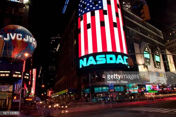 Times Square, New York City, Night, Motion Blur