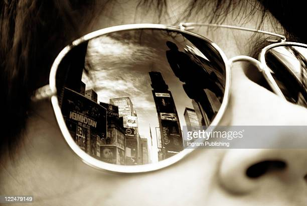 Times Square, New York reflected in sunglasses