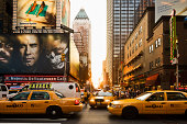 Times Square, taxis in the Seventh Avenue