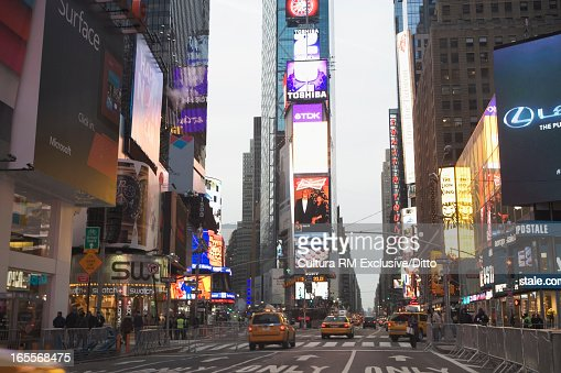 Times Square traffic in New York City : Stock Photo