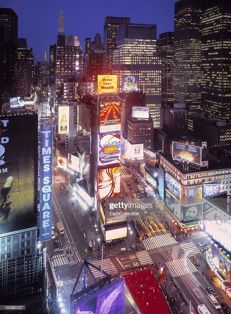 Times Square with an abundance of billboards : Stock Photo
