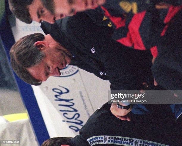 Times up for Manchester United's manager Alex Ferguson as his side lose 20 to Leicester in the Coca Cola cup at Filbert St tonight Picture DAVID...