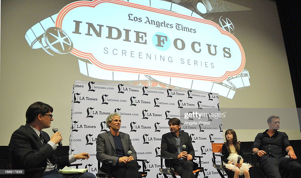 LA Times writer Mark Olsen, co-director David Siegel, co-director Scott McGehee, actress Onata Aprile and actor Alexander Skarsgard attend the LA Times Indie Focus Screening of 'What Masie Knew' at Laemmle NoHo 7 on May 16, 2013 in North Hollywood, California.