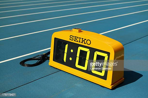 A timing clock is seen at Luzhniki Stadium ahead of the 14th IAAF World Athletics Championships Moscow 2013 on August 8 2013 in Moscow Russia