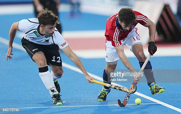 Timm Herzbruch of Germany and Adam Dixon of Great Britain during the FIH Mens Hero Hockey Champions Trophy match between Australia and Belgium at...