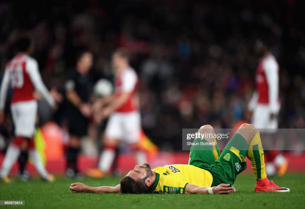 Timm Klose of Norwich City looks dejected after the Carabao Cup Fourth Round match between Arsenal and Norwich City at Emirates Stadium on October 24, 2017 in London, England.