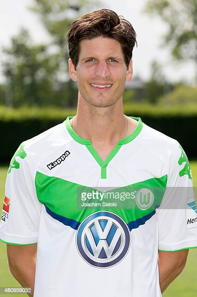 Timm Klose poses during the team presentation of VfL Wolfsburg at Volkswagen Arena on July 16 2015 in Wolfsburg Germany
