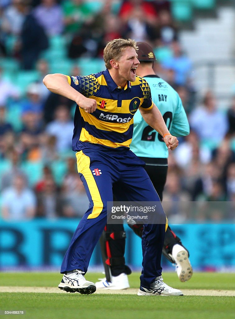 Timm van der Gugten of Glamorgan celebrates taking the wicket of Surrey's Steve Davies during the Natwest T20 Blast match between Surrey and Glamorgan at The Kia Oval on May 26, 2016 in London, England.