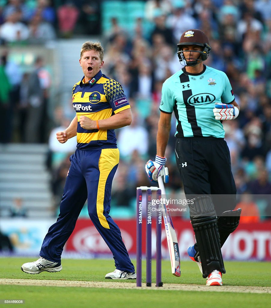 Timm van der Gugten of Glamorgan celebrates taking the wicket of Surrey's James Burke during the Natwest T20 Blast match between Surrey and Glamorgan at The Kia Oval on May 26, 2016 in London, England.
