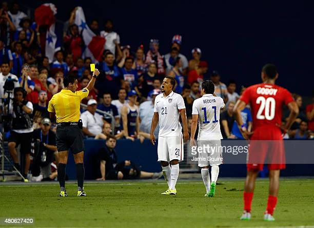 Timmy Chandler of the USA is issued a yellow card during the CONCACAF Gold Cup match against Panama at Sporting Park on July 13 2015 in Kansas City...