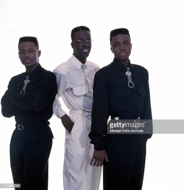 Timmy Gatling Aaron Hall and singer and producer Teddy Riley of the R and B group 'Guy' pose for a portrait in 1987